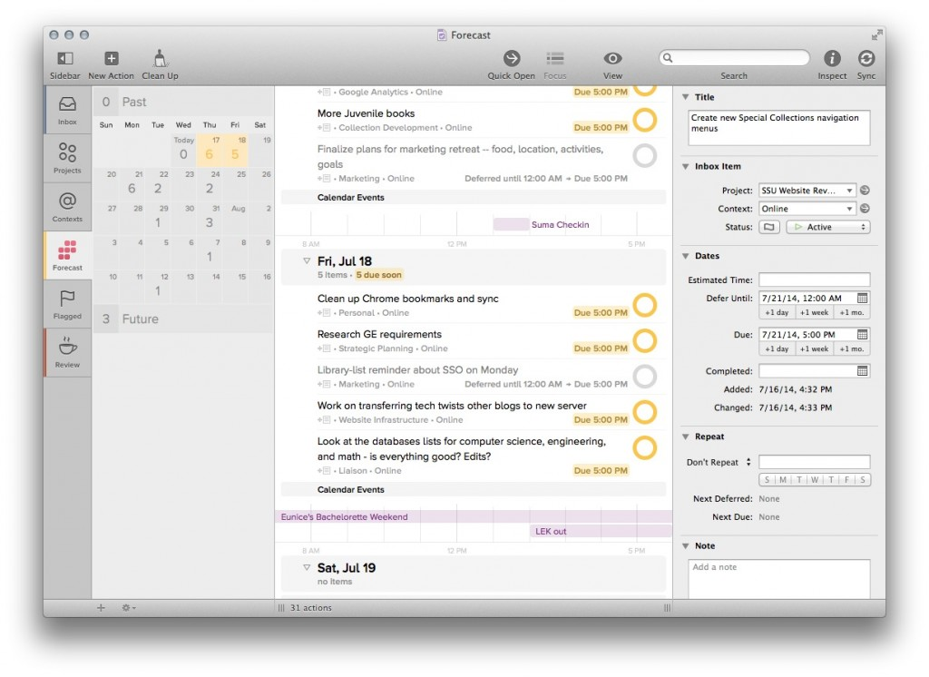 Screen shot of an organization tool called OmniFocus